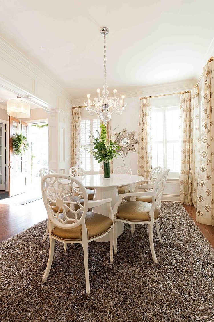 Plush Delos rug for the transitional dining room [Design: Heather ODonovan Interior Design]