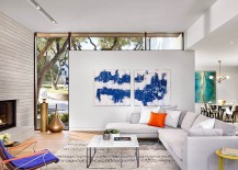 Plush couch in white colorful wall art and chairs for the smart Texas living room 217x155 Bunny Run: Privacy and Picturesque Views Rolled Into One