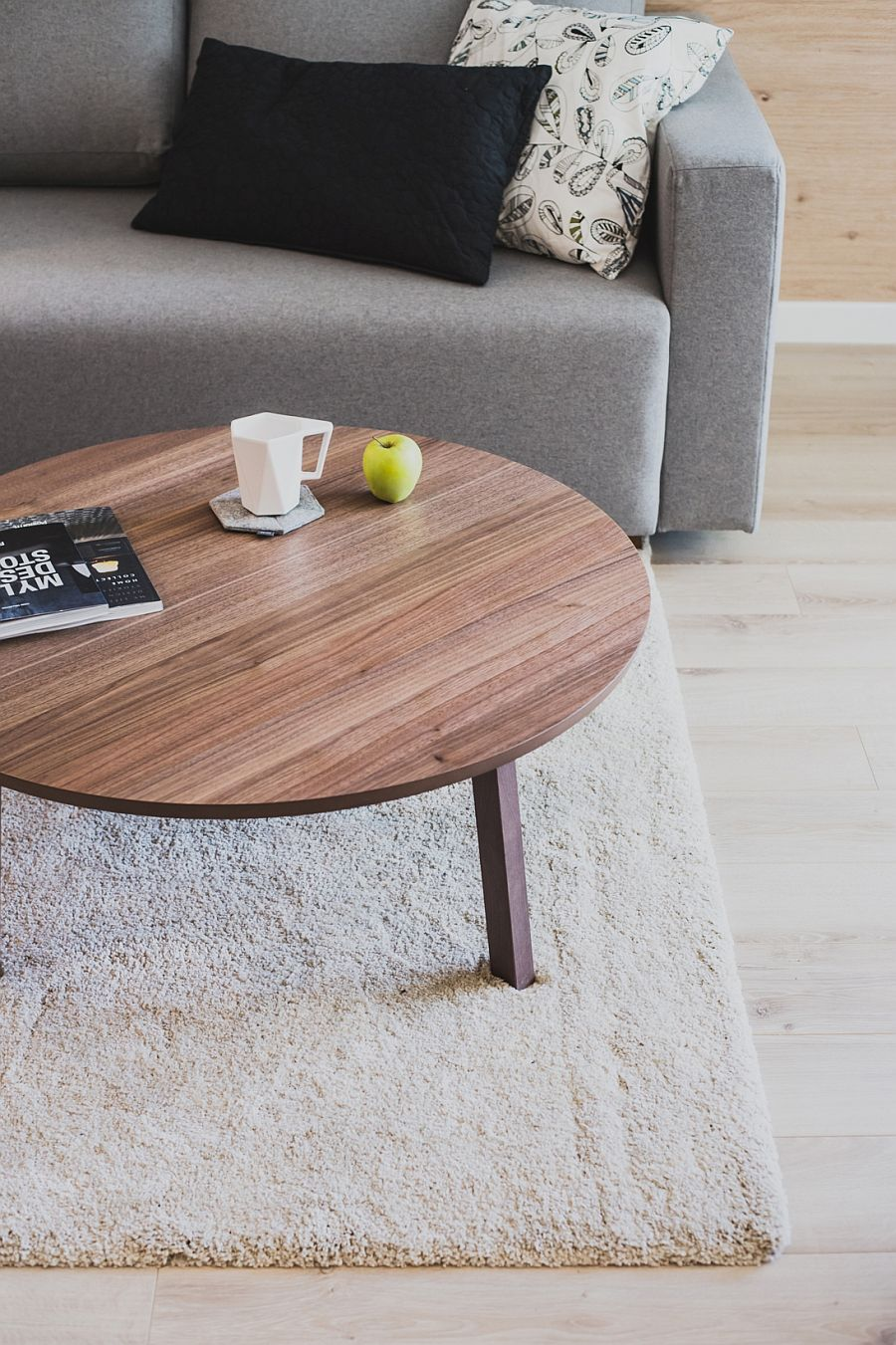 Plush rug, gray couch and round coffee table ifor the small living room