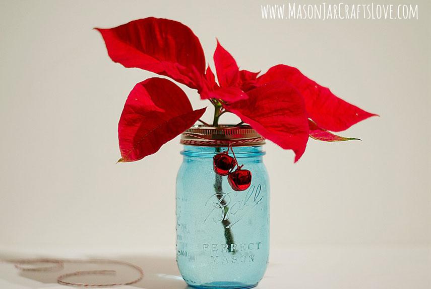 Poinsettia displayed in a mason jar