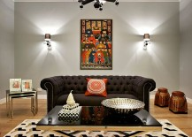 Polished chrome frame and black glass coffee table for the glam living room