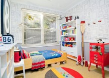 Polished kids' room in black, white and gray with hints of red and yellow
