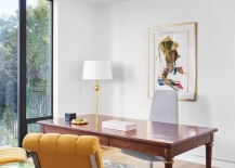 Polished modern home office with a splash of yellow