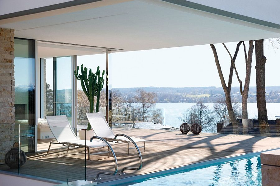 Pool area and private deck of House S overlooking Lake Starnberg A View to Savor: Sophisticated and Minimal S House Overlooking Lake Starnberg