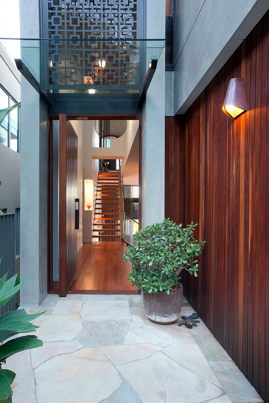 Private entrance to the revamped Aussie home with view of the Gold Coast