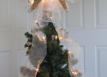 Real starfish made into a Christmas tree topper