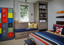 Reclaimed lockers serve as shelves in the kids' room painted in Benjamin moore wickham gray