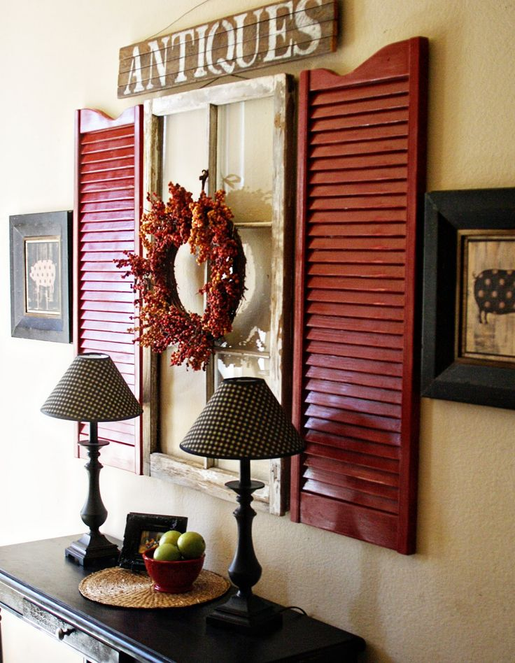 Shutter Designs Ideas craftsman design interior shutters from ultraglas View In Gallery Red Shutters And Old Window Used As Wall Art Above A Hall Table