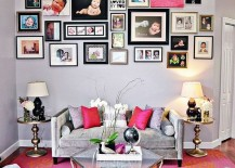Repeat pink throughout the living room in a subtle fashion for a curated look