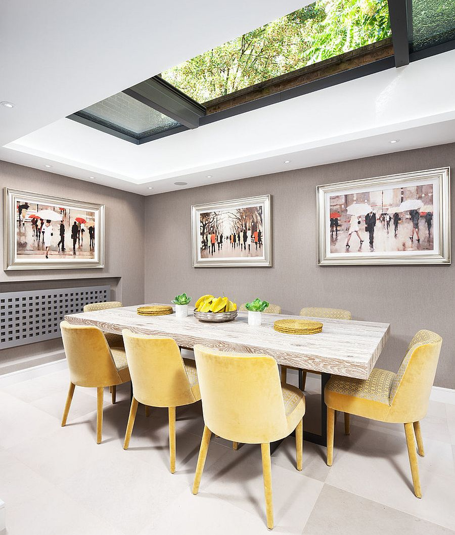 Retractable skylight brings natural ventilation into the smart dining space [From: Neale Smith Photography]
