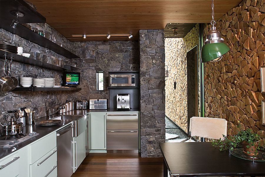 Rustic kitchen that is all about stone! [Design: Andersson-Wise Architects]