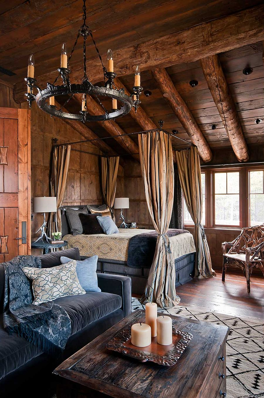 Dancing hearts picture perfect hillside escape in montana for Log cabin interiors modern