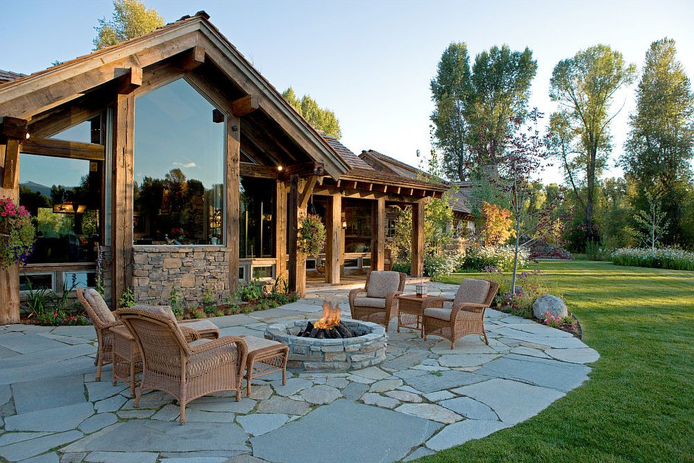 Rustic patio design with fire pit and simple seating