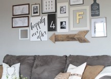 Rustic wooden arrow combined with other wall art pieces