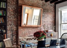 Salvaged decor, rustic touches and industrial flair come together in the cool dining room