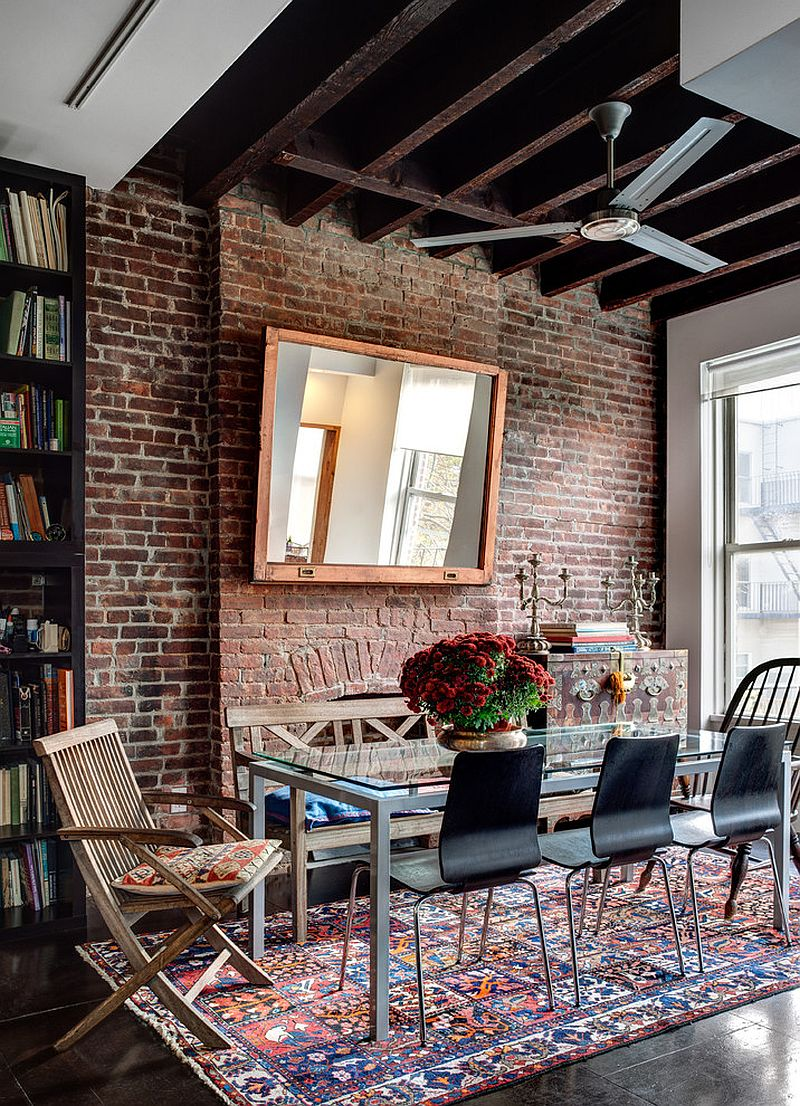50 bold and inventive dining rooms with brick walls for Dining wall design