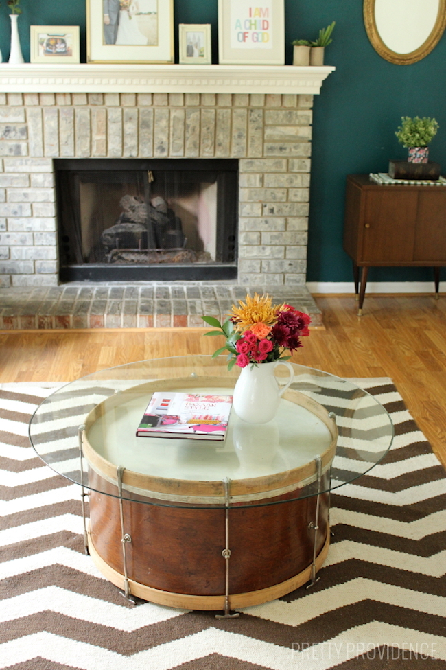 Salvaged drum coffee table