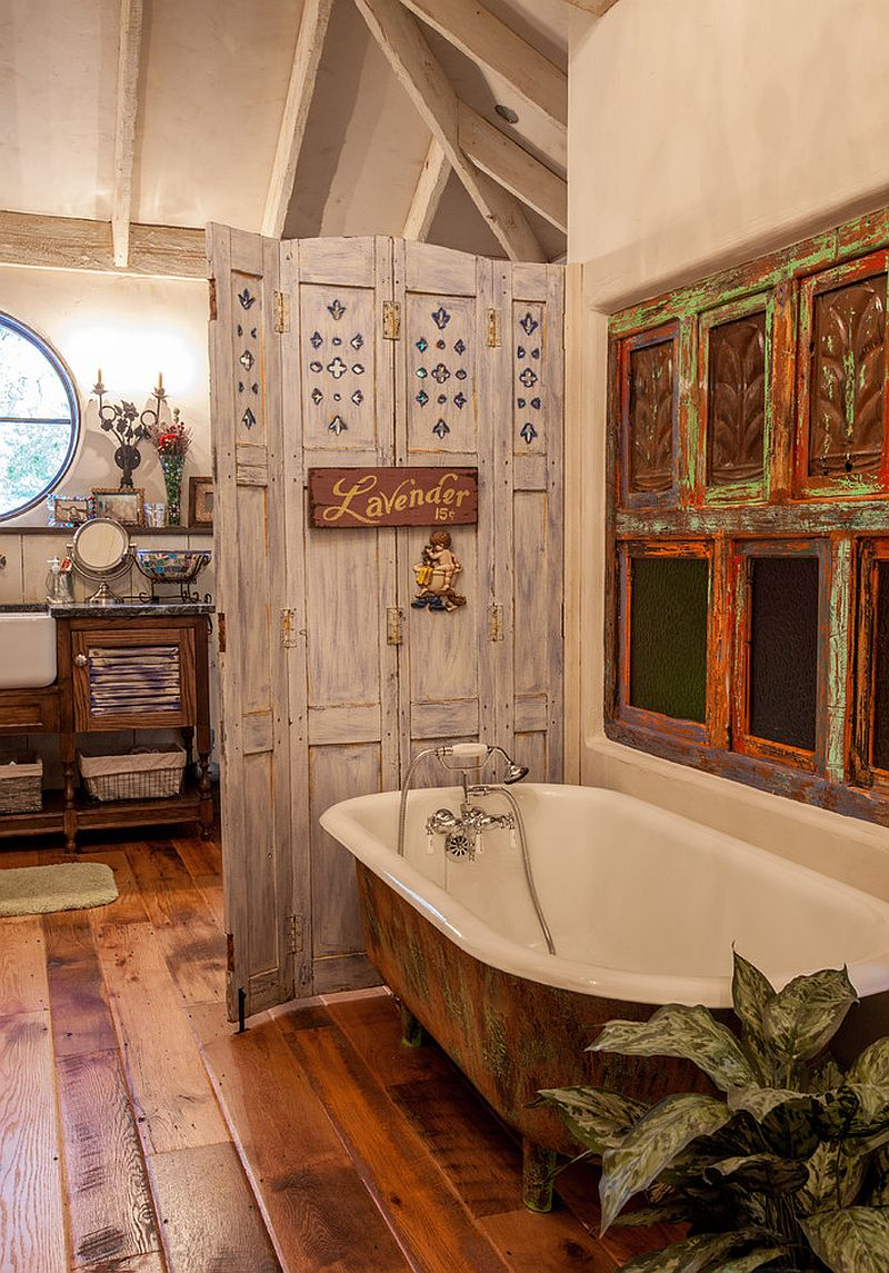 Salvaged materials used to fashion a cool shabby-chic bathroom [Design: Key Residential]