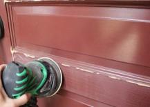 Sanding the front door