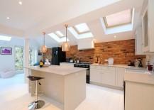 Scandinavian kitchen with gorgeous brick backsplash