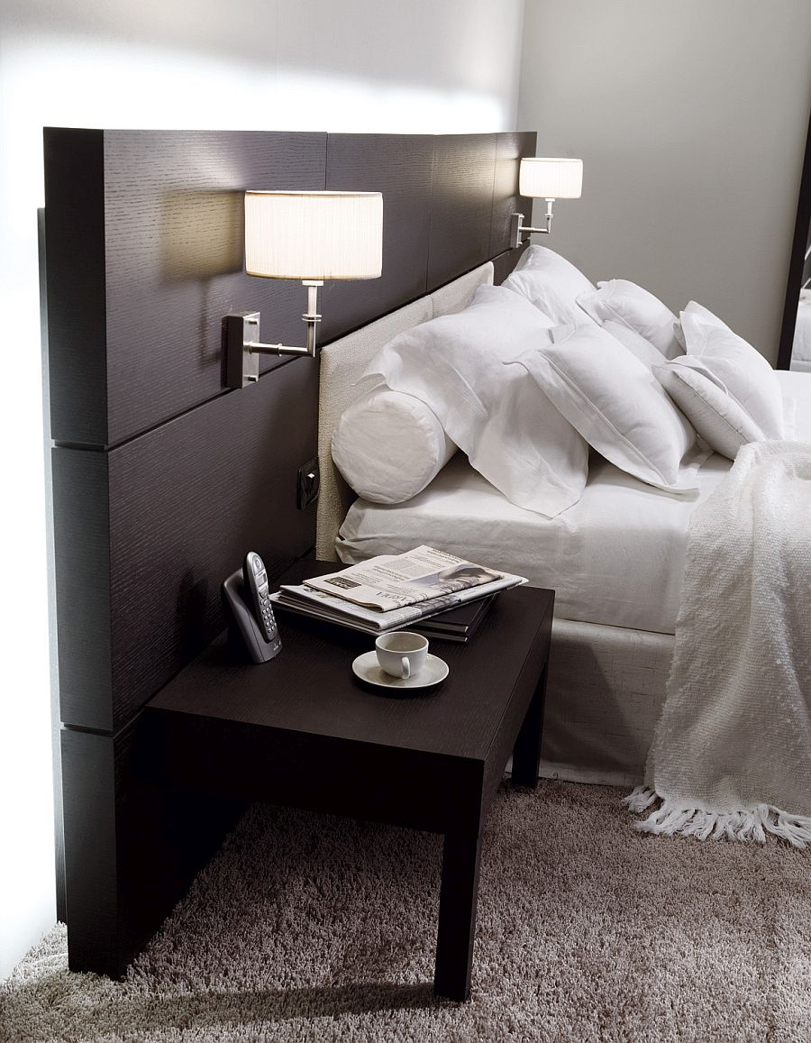Sconce lighting and side tables save up on precious space