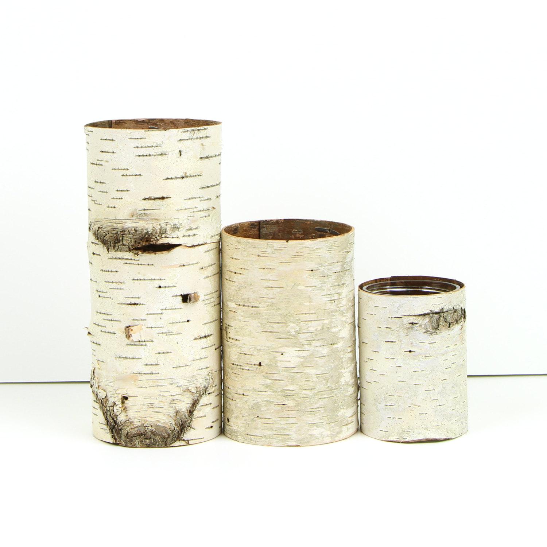 Set of 3 birch bark vases from Etsy shop Bettula
