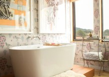 Shabby chic bathroom with ocean view