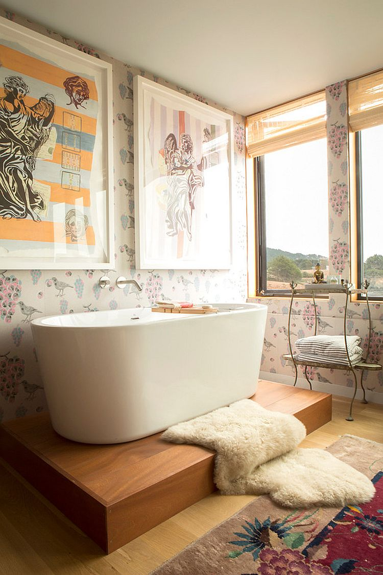 Shabby Chic Bathroom With Ocean View Design Peter Jenny