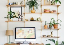 Shelves that look like trees when you dress them up with plants 217x155 15 Nature Inspired Home Office Ideas for a Stress Free Work Space