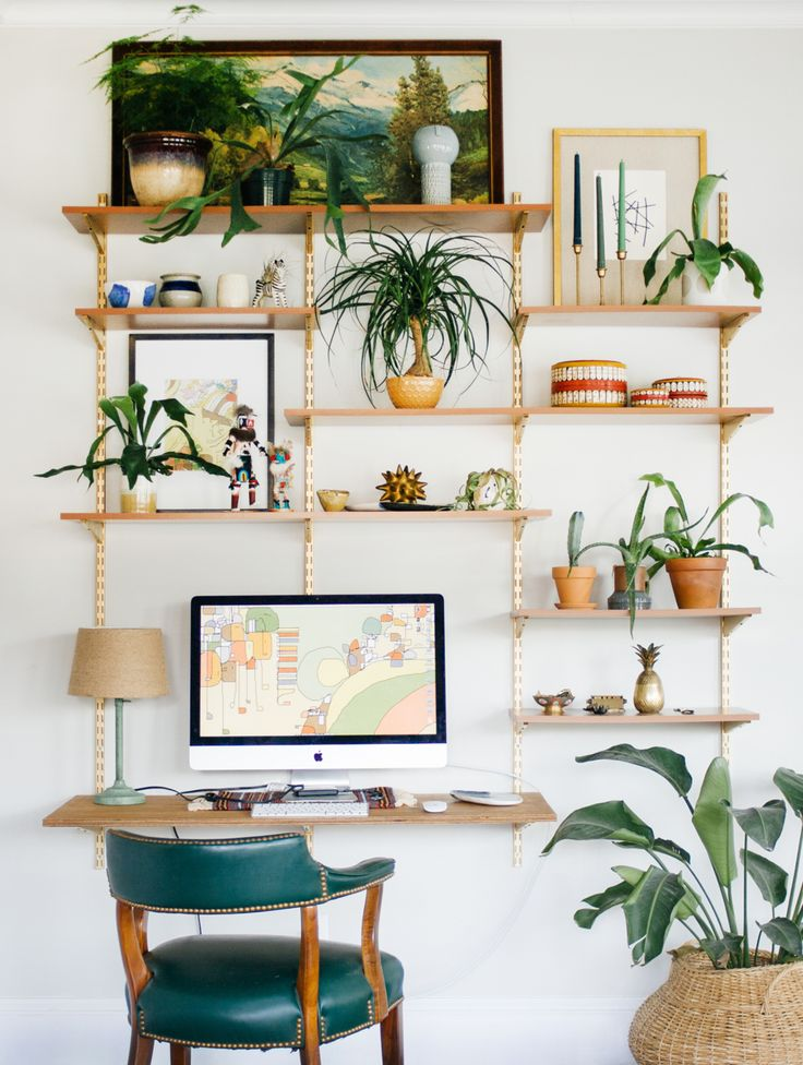 Shelves that look like trees when you dress them up with plants