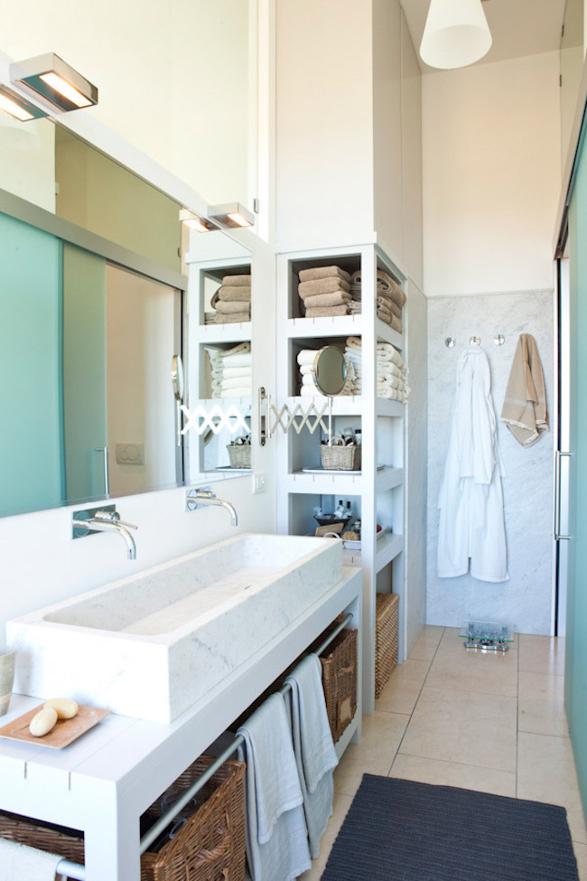 Exquisite Bathrooms That Make Use Of Open Storage - Bathroom vanities with shelves