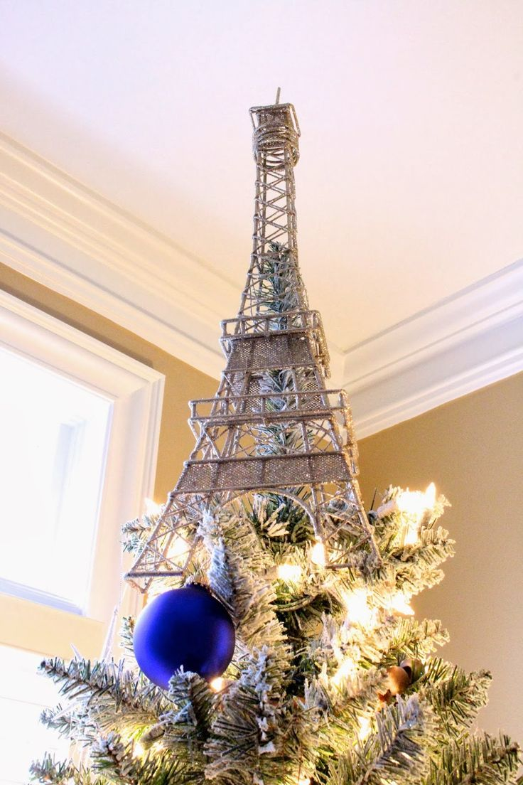 Shimmering Eiffel Tower tree topper