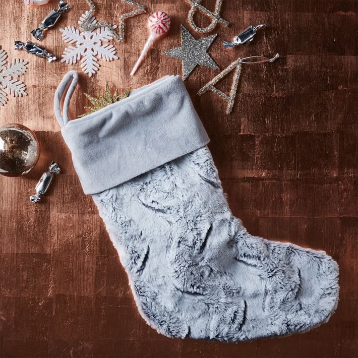 Silvery faux fur stocking from West Elm