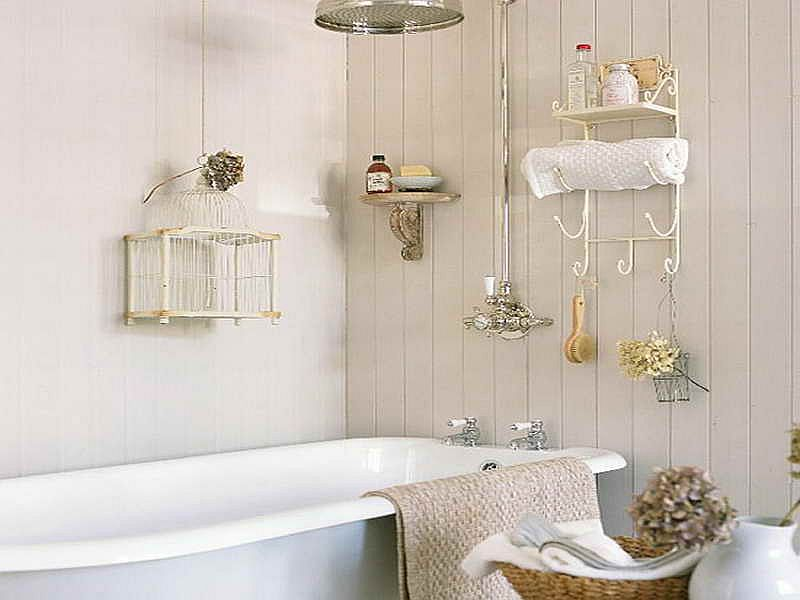 Simplicity is the key in this cool shabby chic bathroom