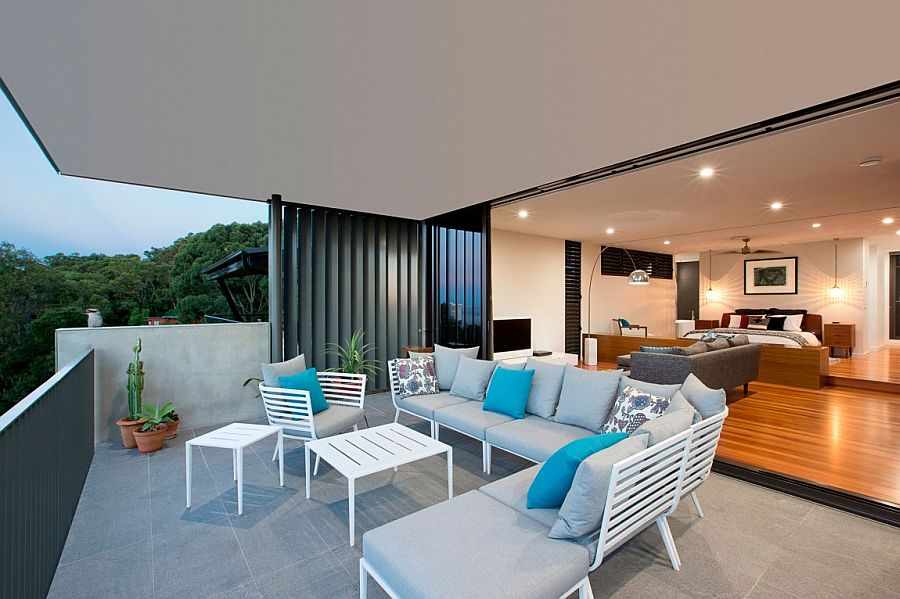 Sitting lounge attached to the bedroom offers unabated views of the distant coastline