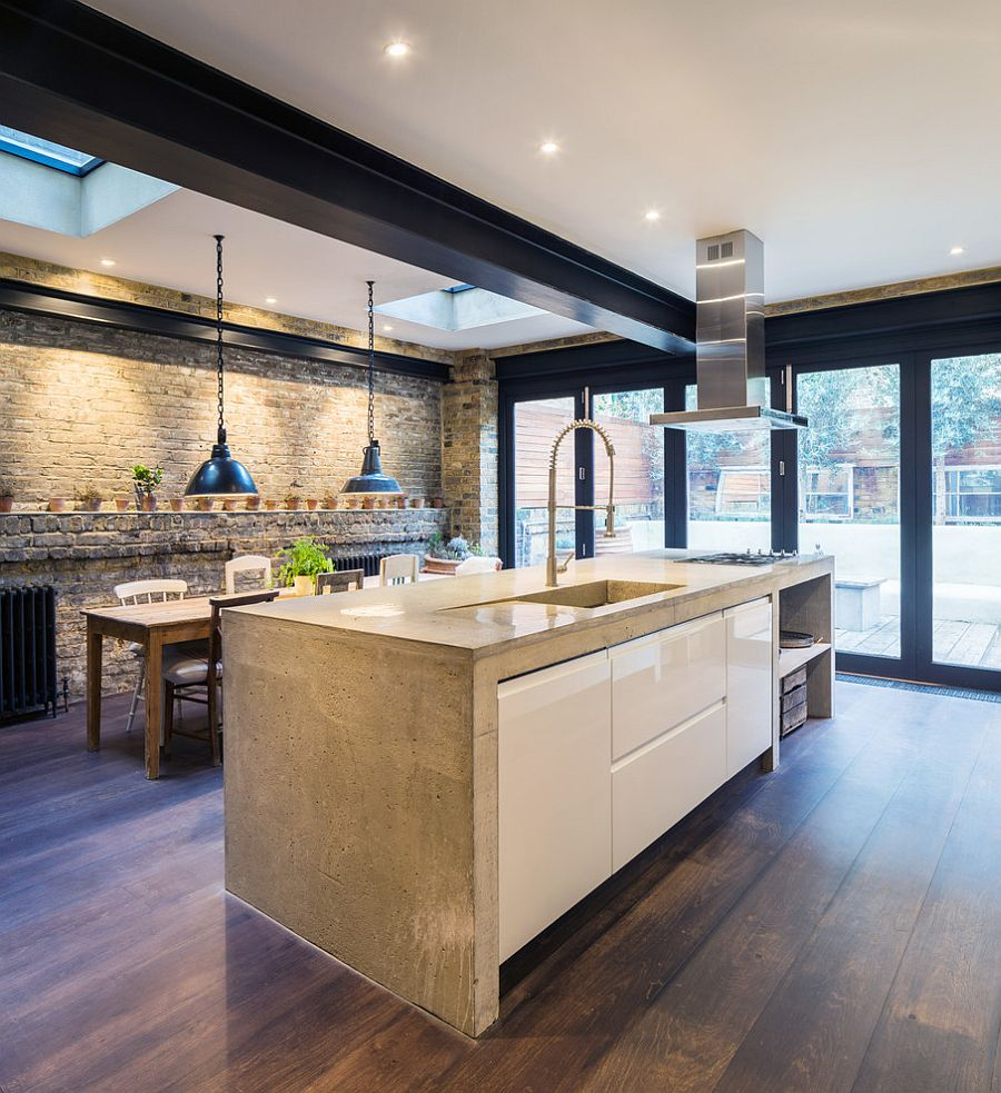 50 Bold And Inventive Dining Rooms With Brick Walls: Skylight Ushers In Additional Lighting Into The Kitchen