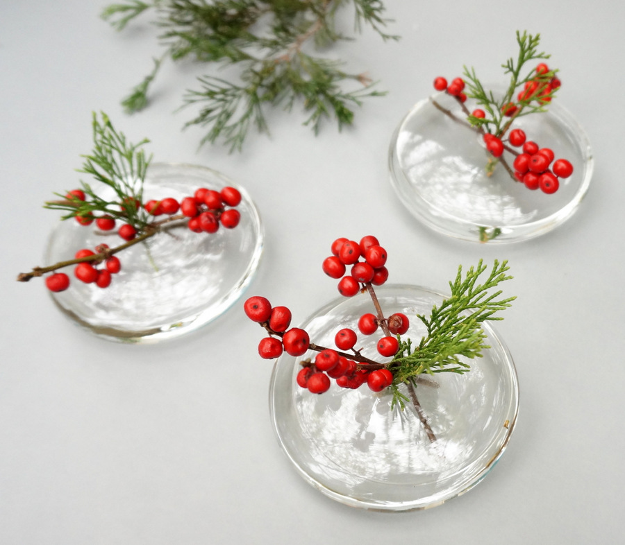 Sleek holiday grouping of vases