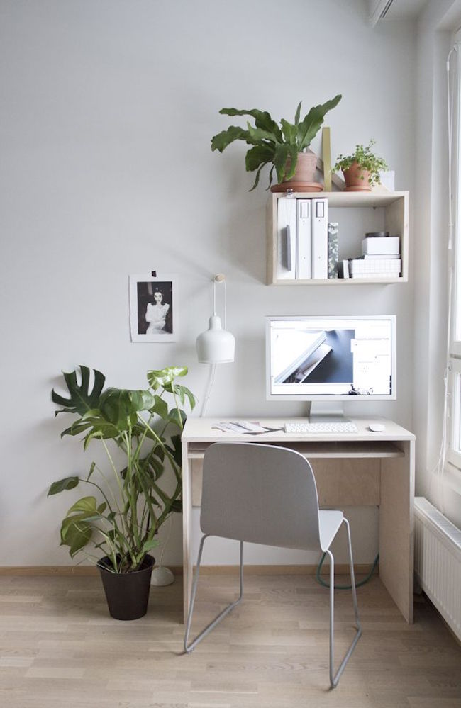 Small desk near a bright window with touches of greenery