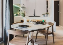 Small dining space for space savvy apartment with round table and pendant light in gray 217x155 Style, Texture and Geometric Flair: Szafarnia 2 in Gdansk