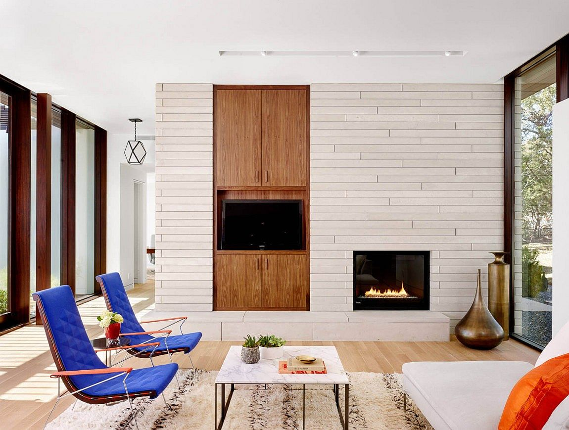 Smart decor inside the Austin home add color and sculptural style