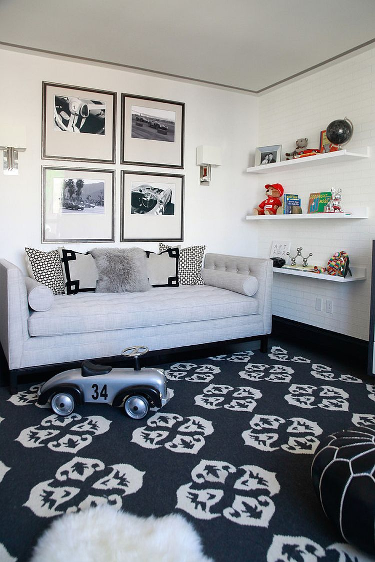 Smart playroom idea for those who adore black and white [Design: Touijer Designs]