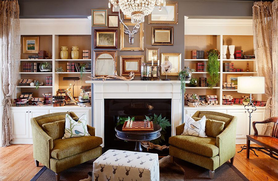 Smartly placed empty frames allow you to switch between decorative pieces with ease [From: Patrick Heagney Photography]