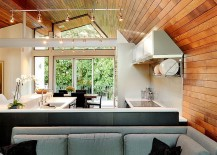 Soaring vaulted ceilings create an appearance of continuity in design