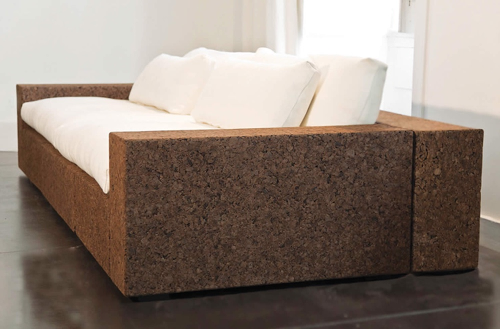 Sofa made using cork agglomerate