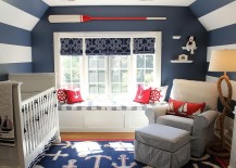 Space savvy nursery with blue and white stripes and a nautical theme 217x155 10 Ways to Embrace Sun, Sand and Sea in the Modern Nursery