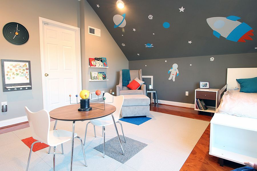 Space-themed contemporary toddler bedroom
