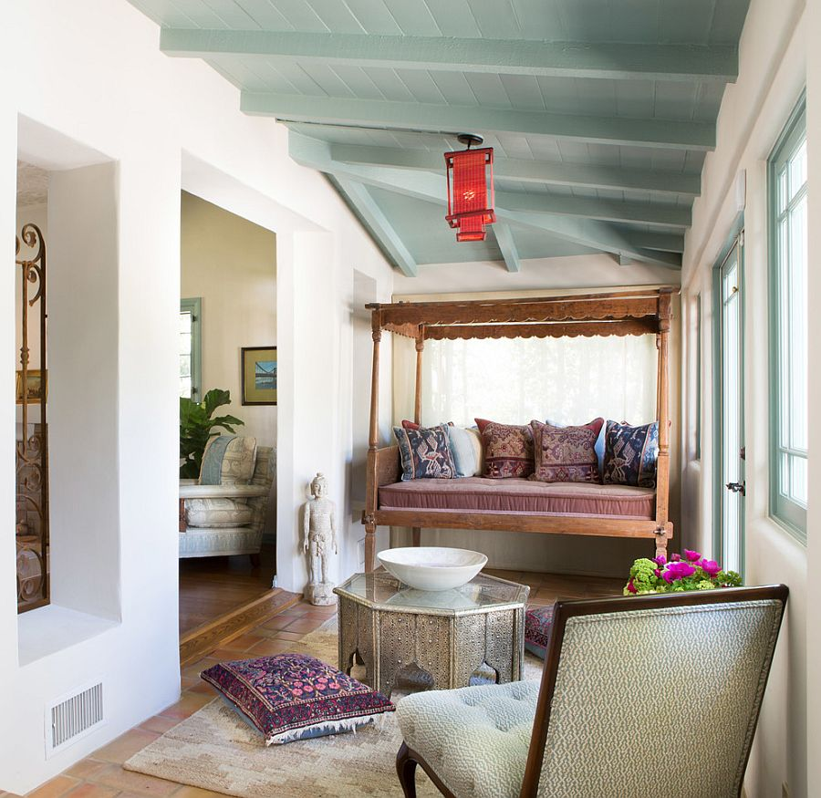 Spanish Colonial influences dominate this breezy sunroom [Design: Charmean Neithart Interiors]