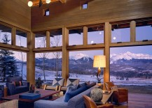 Spectacular mountain views from the living room of the Wilson Mountain Home