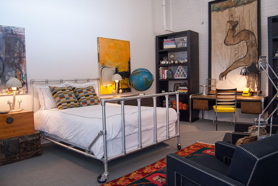 Speedrail bed from Area for the industrial guest bedroom [Design: Adrienne DeRosa]