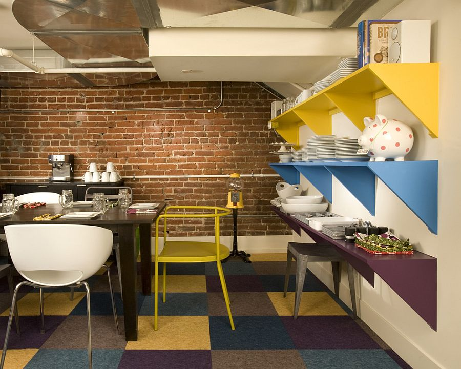 Splash of color ensures that the small dining room feels less claustrophobic [Design: Momoko Morton]